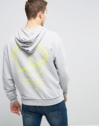 Asos Oversized Hoodie With Back Print Grey Marl