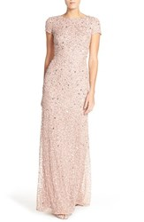 Women's Adrianna Papell Short Sleeve Sequin Mesh Gown Antique Rose