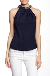 Blvd Embellished Sleeveless Blouse Blue