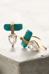 Anthropologie Talulah Fox Petite Climber Earrings Turquoise