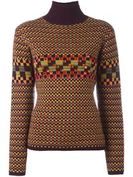 Jean Paul Gaultier Vintage Checked Embellished Turtleneck Jumper Yellow And Orange