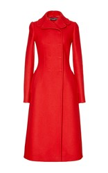 Dolce And Gabbana Red Cashmere Wool Long Sleeved Coat