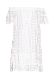 Rebecca Taylor Off The Shoulder Embroidered Cotton Dress White