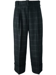 Antonio Marras Plaid Tapered Cropped Trousers Grey