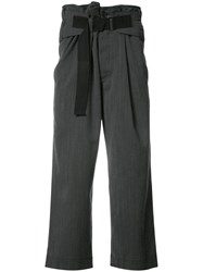 Ann Demeulemeester Loose Fit Cropped Trousers Grey