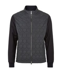 Z Zegna Quilted Leather Bomber Jacket Navy