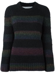 Raquel Allegra Bell Sleeve Striped 'Raglan' Black