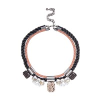 River Island Womens Black Double Row Gem Statement Necklace