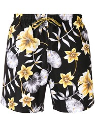 Hugo Boss Floral Print Swim Shorts Black