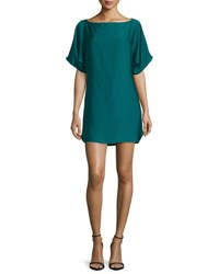 Milly Boat Neck Dolman Shift Dress Peacock
