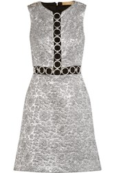 Michael Kors Collection Embellished Metallic Brocade Mini Dress Silver