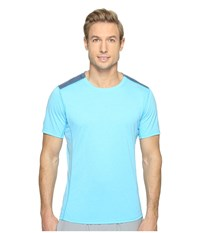 Brooks Distance Short Sleeve Shirt Heather Pool Heather Ink Men's Short Sleeve Pullover Blue