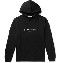 Givenchy Distressed Logo Print Loopback Cotton Jersey Hoodie Black