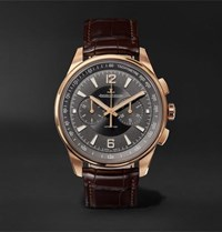 Jaeger Lecoultre Polaris Chronograph 42Mm Rose Gold And Alligator Watch Black