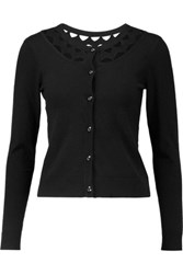 Milly Cutout Stretch Knit Cardigan Black