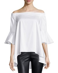 Nicholas Off The Shoulder Fringe Trim Top White