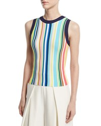 Milly Vertical Striped Ribbed Shell Multi
