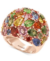 Effy Collection Effy Watercolors Multi Stone 13 2 3 Ct. T.W. And Diamond 1 3 Ct. T.W. Dome Ring In 14K Rose Gold