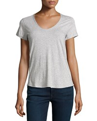Vince Rounded V Neck Jersey Tee Heather Gray