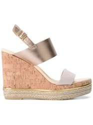 Hogan Metallic Wedge Sandals Women Calf Leather Leather Suede 37 Nude Neutrals