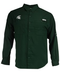 Columbia Men's Michigan State Spartans Tamiami Long Sleeve Button Down Shirt Green