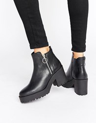 Mango Zip Detail Chunky Ankle Boot Black