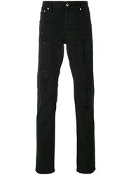 Alexander Mcqueen Embroidered Jeans Men Silk Cotton Polyester Spandex Elastane 44 Black