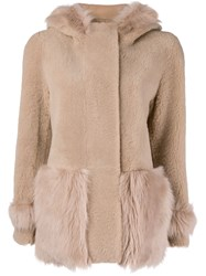 Blancha Hooded Shearling Jacket Nude And Neutrals