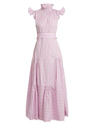 Teija Cap Sleeved Gingham Cotton Dress Purple White