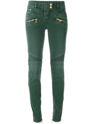 Balmain Stretch Biker Jeans Women Cotton Spandex Elastane 38 Green