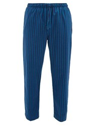 Derek Rose Striped Brushed Cotton Twill Pyjama Trousers Blue Multi