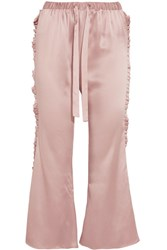 Maggie Marilyn The Good Knight Pleated Silk Satin Flared Pants Pastel Pink