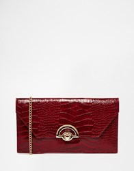 New Look Curved Lock Snake Clutch Red