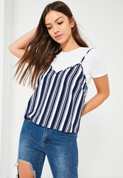 Missguided Blue Stripe Cami Overlay