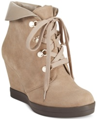 Anne Klein Joely Lace Up Wedge Booties Taupe