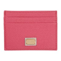 Dolce And Gabbana Pink Logo Plate Card Holder