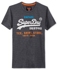 Superdry Men's Graphic Print T Shirt Rinse Navy Jaspe