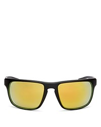 Hugo Boss Sport Wrap Mirrored Rectangle Sunglasses 58Mm Rubber Black Yellow