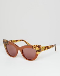 Asos Handmade Cat Eye Sunglasses With Corner Detail Brown