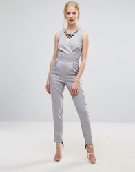 Little Mistress Embellished Neck Jumpsuit Grey