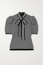 Michael Kors Collection Pussy Bow Striped Cashmere Blend Top Black