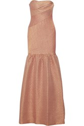 Marchesa Metallic Brocade Gown Pink