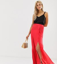 Asos Design Tall Crinkle Maxi Skirt With Self Covered Buttons