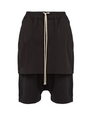 Rick Owens Drkshdw Kilt Pods Contrast Panel Cotton Blend Shorts Black