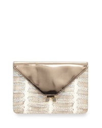 Etienne Aigner Forester Snake Embossed Leather Metallic Envelope Clutch Snow Multi