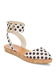 Alice Olivia Reese Polka Dot Ankle Strap Flatforms Cream Black
