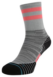 Stance Run Uncommon Solids Crew Sports Socks Neon Red Grey