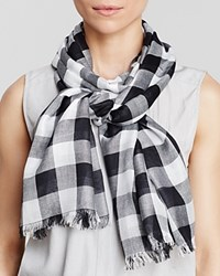 Aqua Gingham Scarf 100 Exclusive Black White