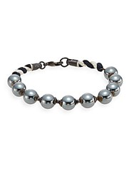 Jan Leslie Hematite Beaded Bracelet No Color