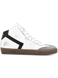 Leather Crown High Top Sneakers White